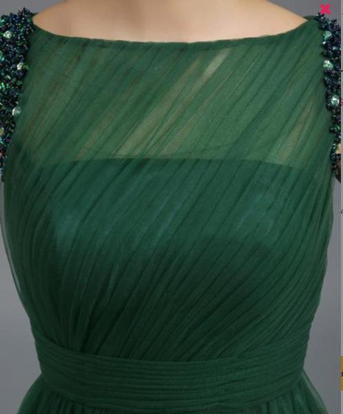 Vintage Bateau Appliques ,A-Line Long Evening Dress, Elegant Formal Dress ,New