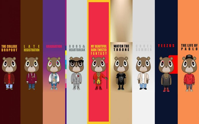 kanye west bears polyester fabric poster by printandrun on zibbet