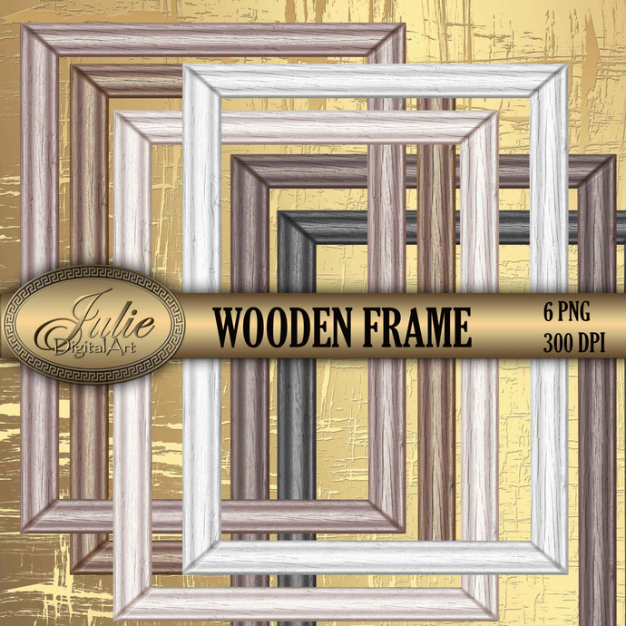 Wooden Rustic Frames Clipart Digital Picture Molding Brown Black White Clip