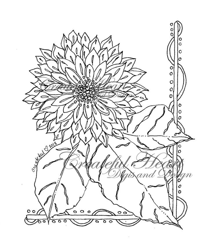 Summer Zinnia  digital stamp