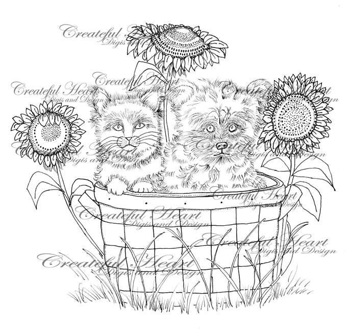 Lexi & Boo in Basket with Sunflowers, digital stamp