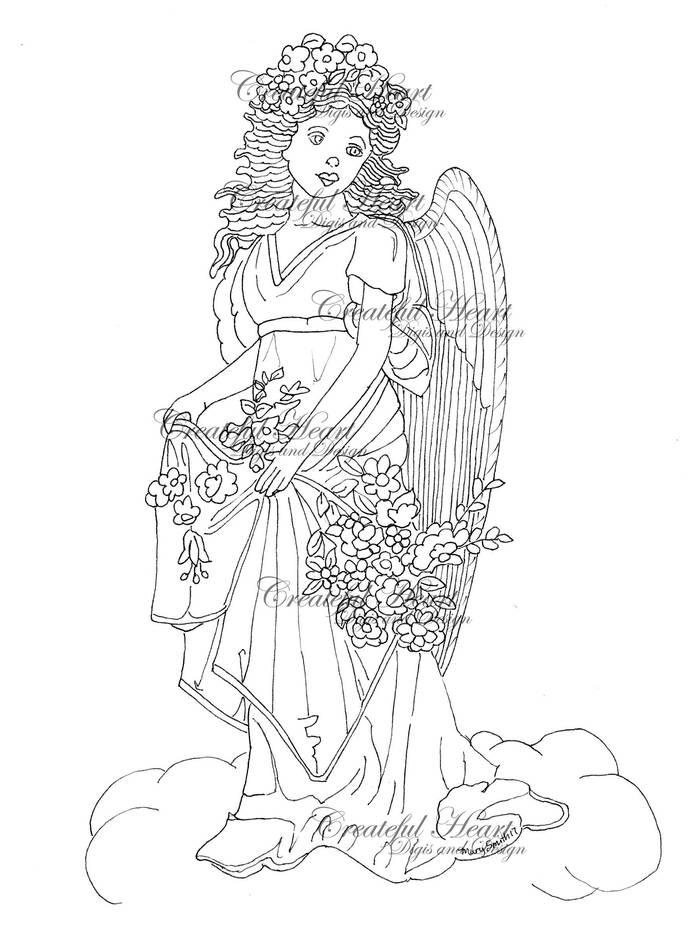 Vintage Angel, digital stamp