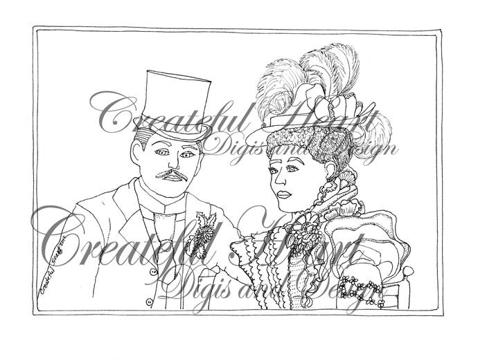 1900's Wedding Couple, vintage, stamp