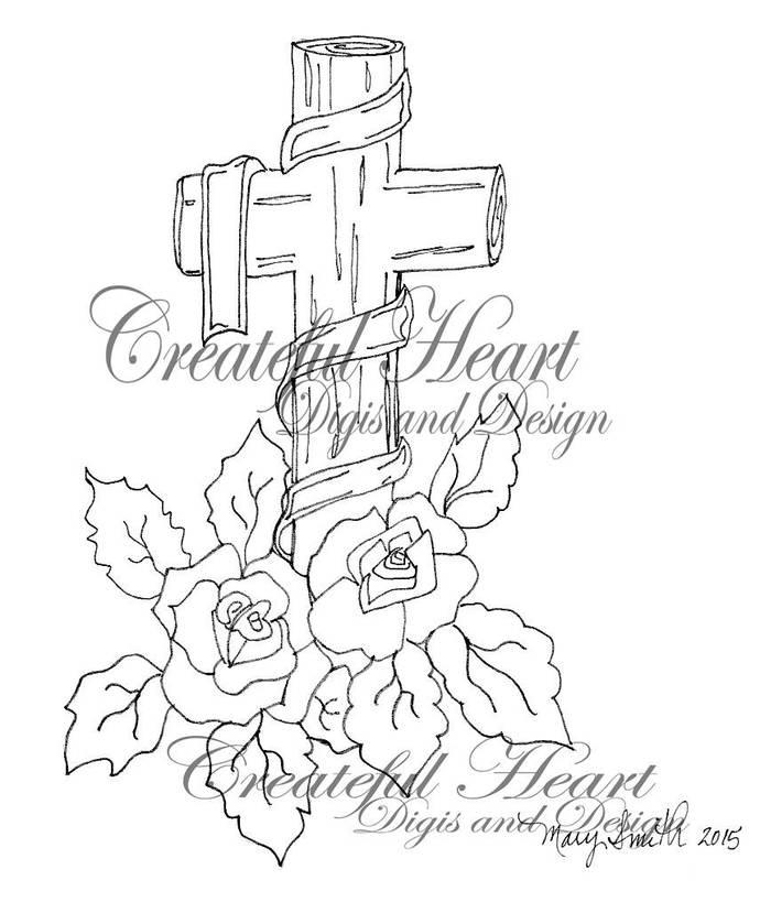 Easter Cross  -  digital stamp