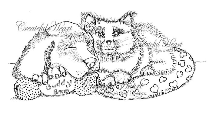 Bluebell and Maxie, digital stamp