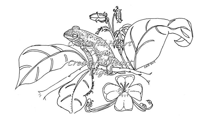 Frog an Flora, digital stamp