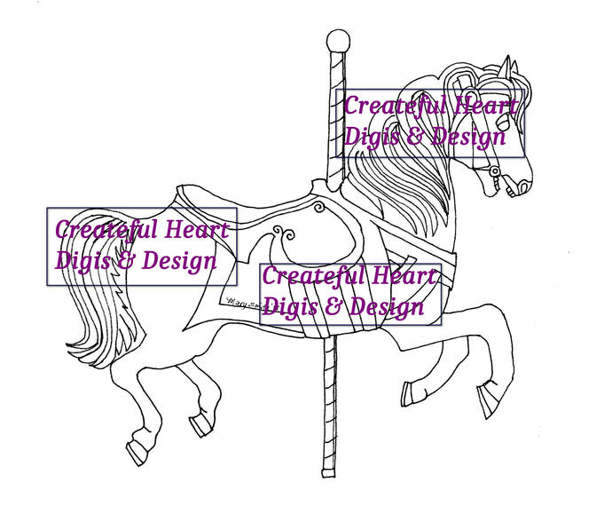 Carousel Horse, Digital Stamp
