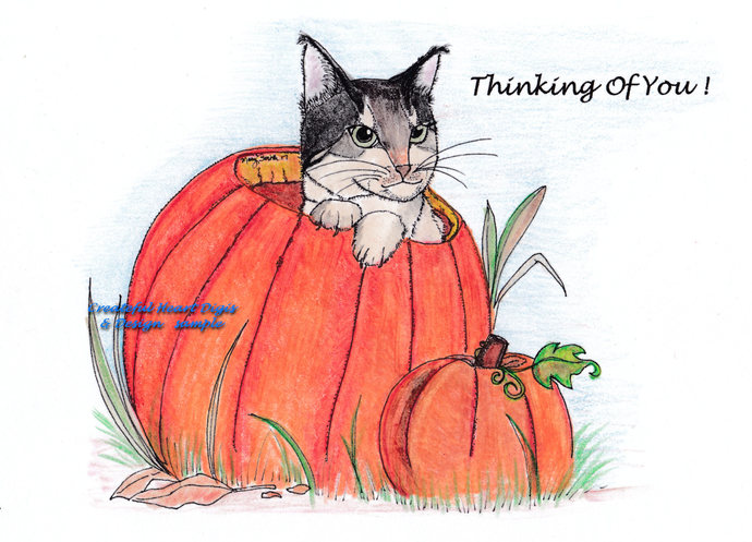Pumpkin Patch Kitty  digital stamp