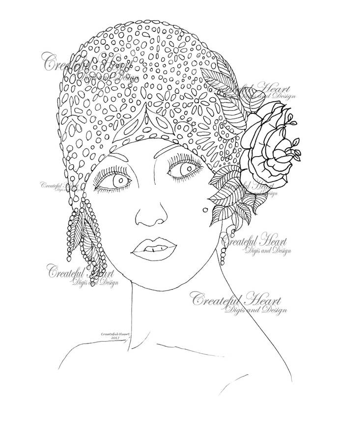 Cynthia 1920's Chic, digital stamp