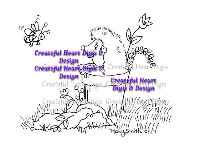 Harvey Hedgehog & Bradford Bee Digi - Digital Stamp