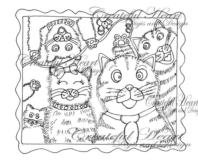 Feline Frenzy, Digital, Stamp