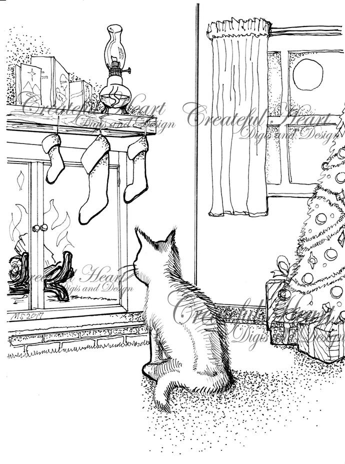 Christmas Eve Kitty, image, digital, stamp