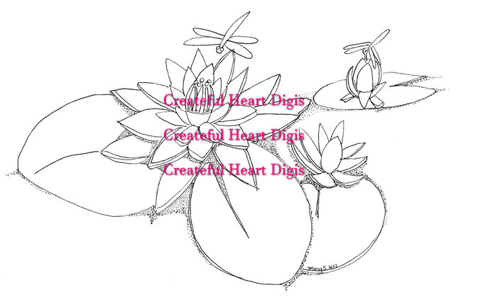 Water Lilies with Dragonflies  (digital, stamp, image)
