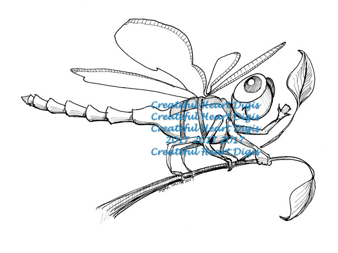 "Dragonfly ""Hi!""    (digital, image, stamp)"