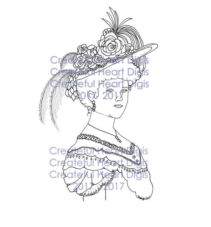 Victorian Lady 1900's, stamp, digital, image
