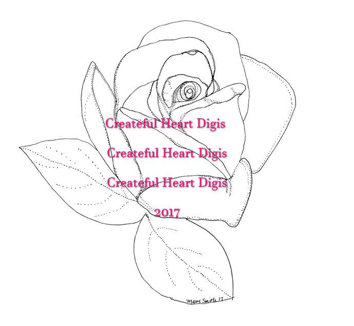 Old Fashioned Rose  digital stamp