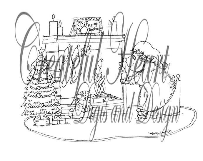 Hettie Hedgehog Christmas Fireplace,  digital stamp