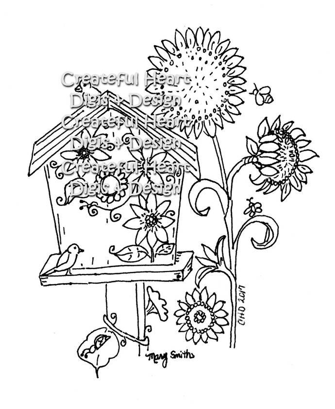 Birdhouse, digital stamp