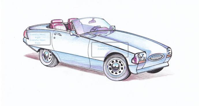 1950's Roadster, digital stamp