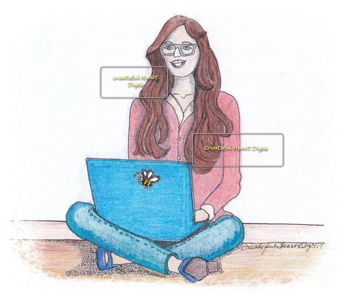 Kris at her laptop, digital stamp