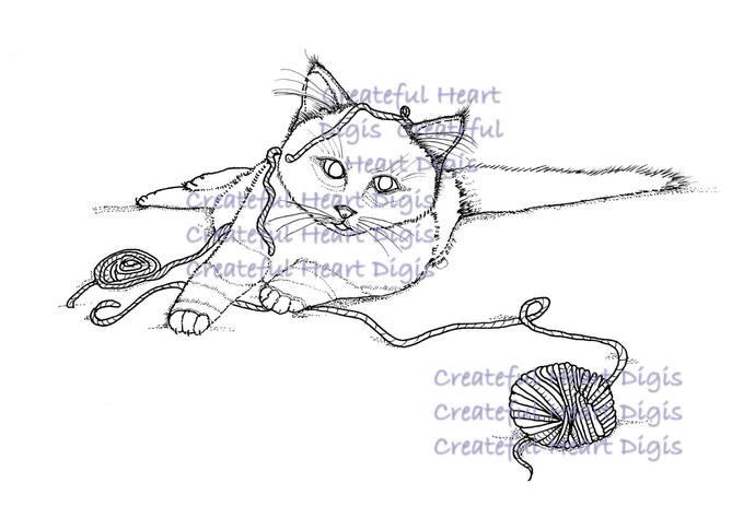 Chloe Playing With Yarn  (digital image)