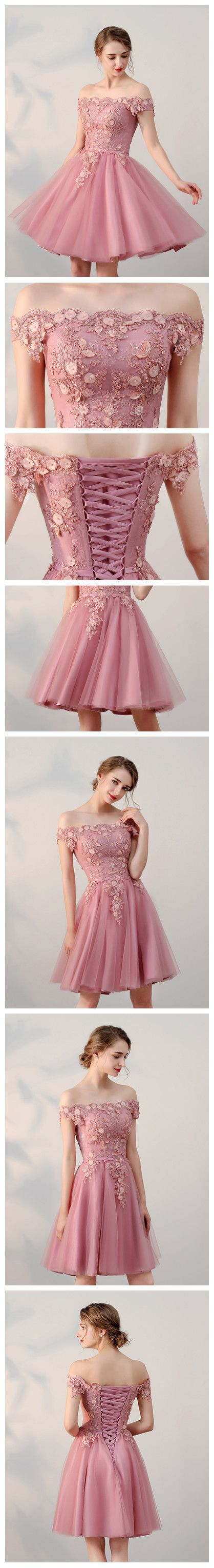 Copy of CHIC A-LINE OFF-THE-SHOULDER TULLE PINK CHARMING SHORT PROM DRESS