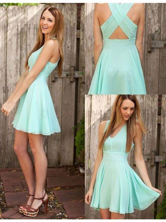 3d085e9b645 Mint green homecoming dress