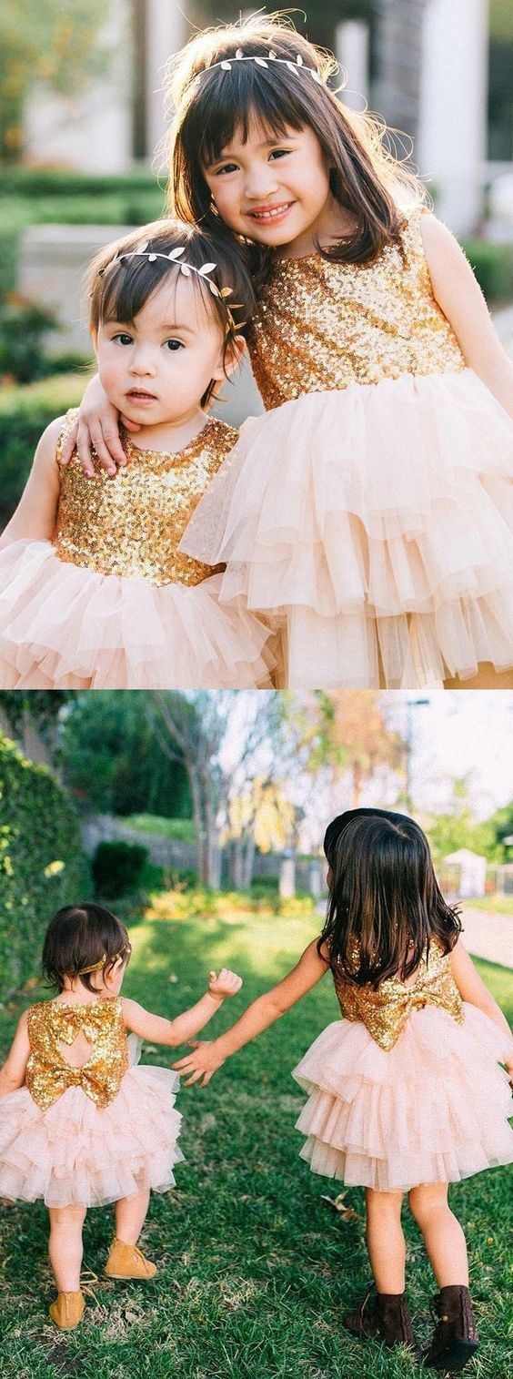 Ball Gown Jewel Open Back Pearl Pink Tulle Flower Girl Dress with Sequins