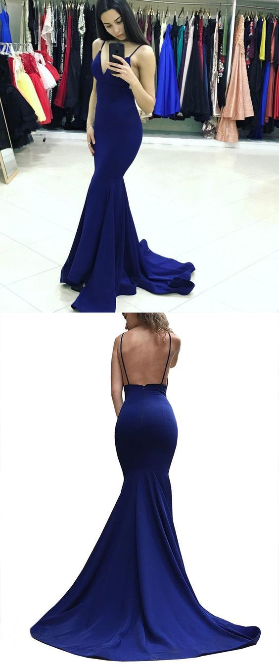 Elegant Straps V Neck Royal Blue Mermaid Long Prom Dress