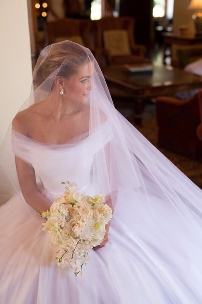 Concise White Tulle Off Shoulder Ball Gown by Miss Zhu Bridal on