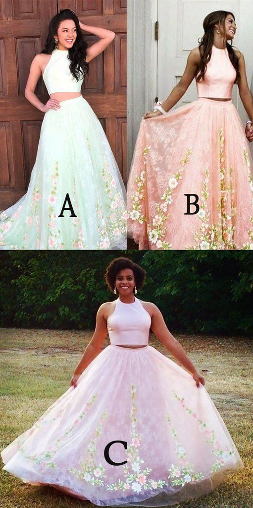 bce9e1a14ba32 Elegant 2 pieces prom party dresses with appliques, fashion formal evening  gowns