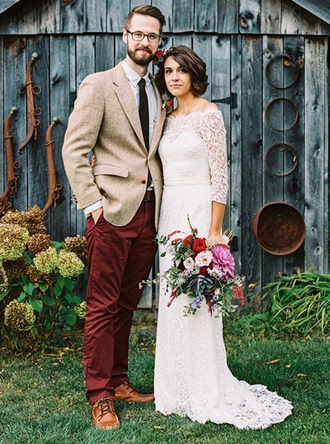 Sheath Off-the-Shoulder 3/4 Sleeves Lace Beach Wedding Dress