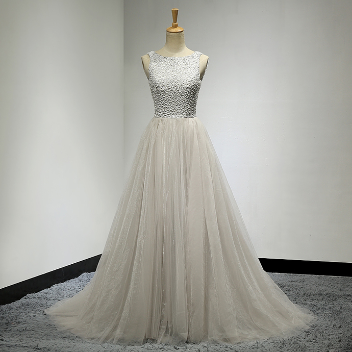 Silver Prom Dresses, Beaded Prom Dresses, Tulle Banquet Gowns, Celebrity