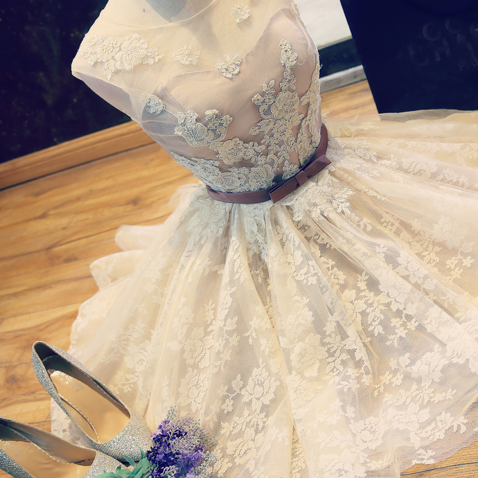 Lace Homecoming Dresses, Short Prom Gowns, V Back Banquet Gowns