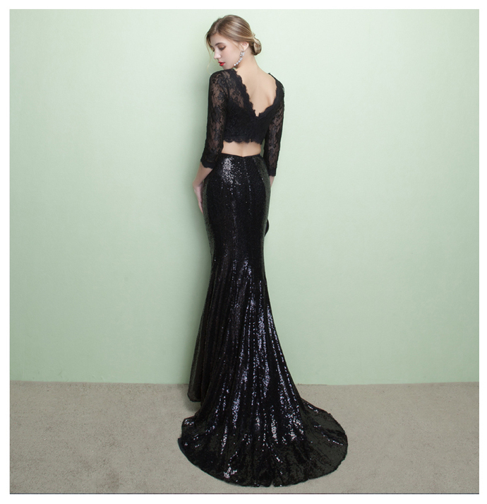 Black Lace Two Piece Prom Dresses with Long Sleeves, Formal Dresses, Graduation