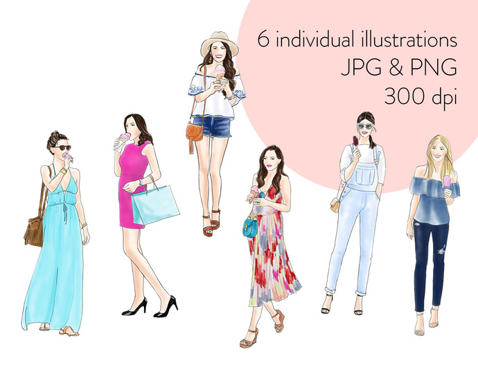 Watercolor fashion illustration clipart - Girls with Ice-cream - Light Skin
