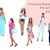 Watercolour fashion illustration clipart - Girls with Ice-cream - Dark Skin