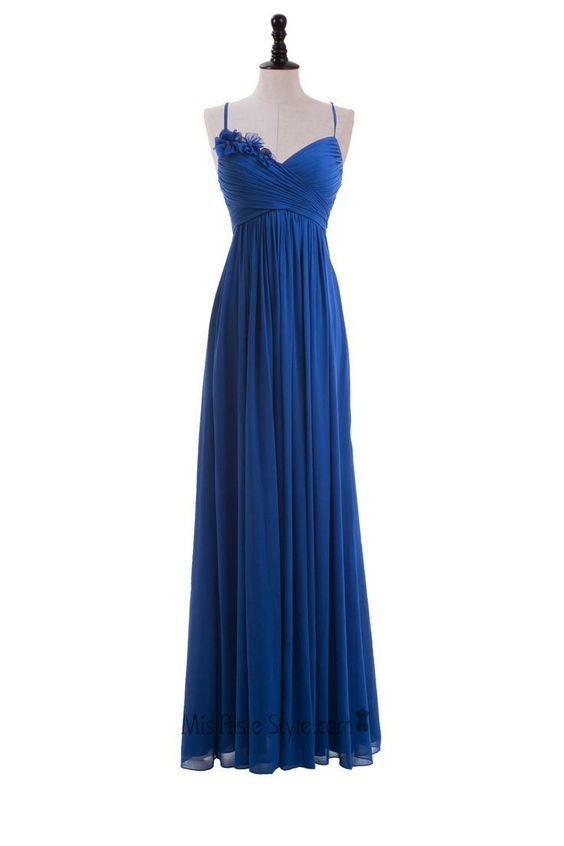 Royal Blue Floral Embellished Ruched Plunge V Spaghetti Straps Floor Length