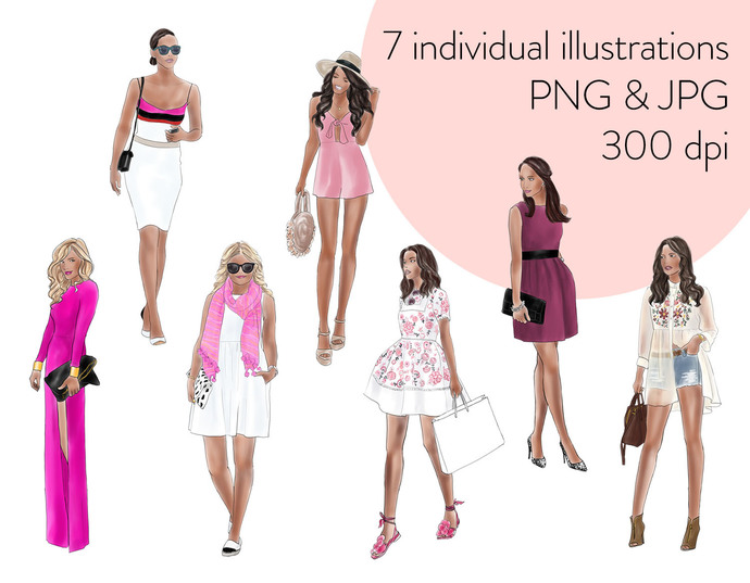 Watercolour fashion illustration clipart - Girls in Pink - Dark Skin