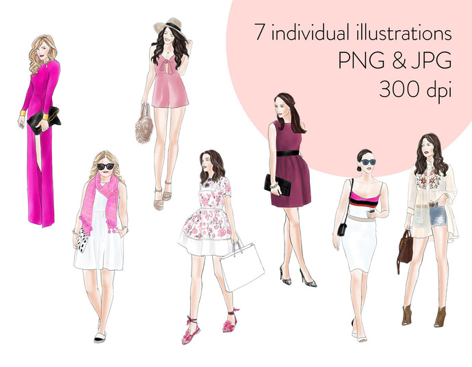 Watercolour fashion illustration clipart - Girls in Pink - Light Skin