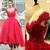 Red Ball Gown Party Dresses 3D-Floral Appliques Hi-Lo Chic Prom Dresses