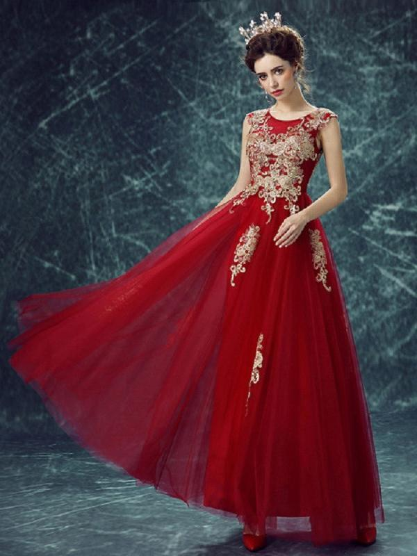 Beautiful Prom Dresses A-line Ankle-length Gold Appliques Prom Dress/Evening