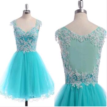 V-Neck Appliques A-Line Homecoming Dresses,Short Prom Dresses,Cheap Homecoming