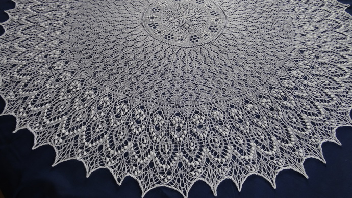 Circular hand knitted lace shawl/ christening shawl/ blanket  Made to order
