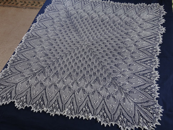 Knitted lace shawl ,white wedding shawl, lace baby blanket, christening shawl,