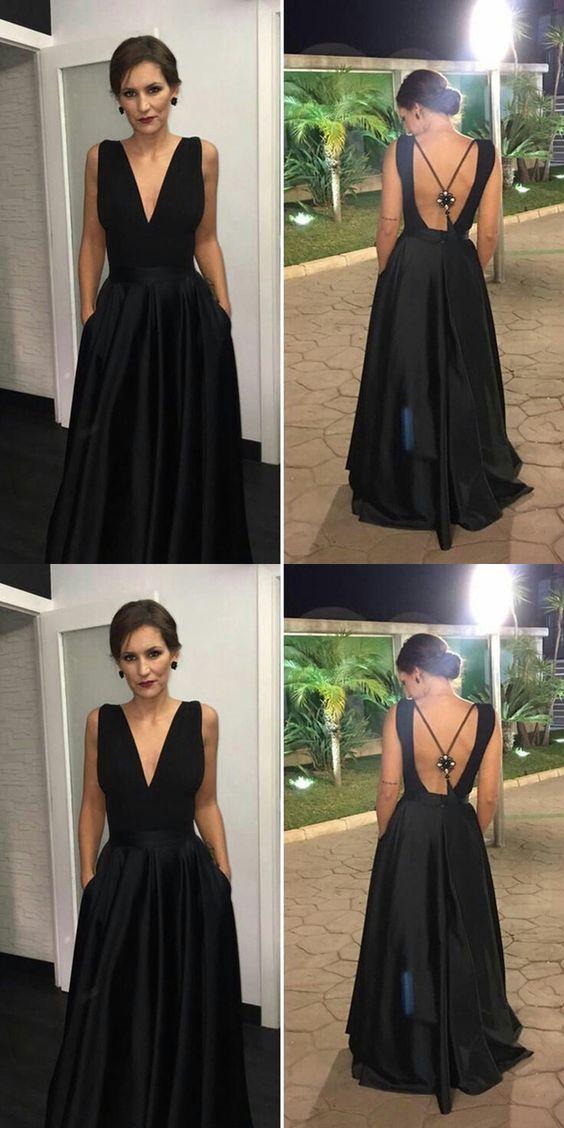 A-Line V-Neck Black Backless Long Prom Evening Dress 0723