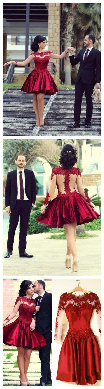 11d85415efe a-line Scoop Short Mini Short Prom Dress Homecoming Dresses Hot Sale  Burgundy