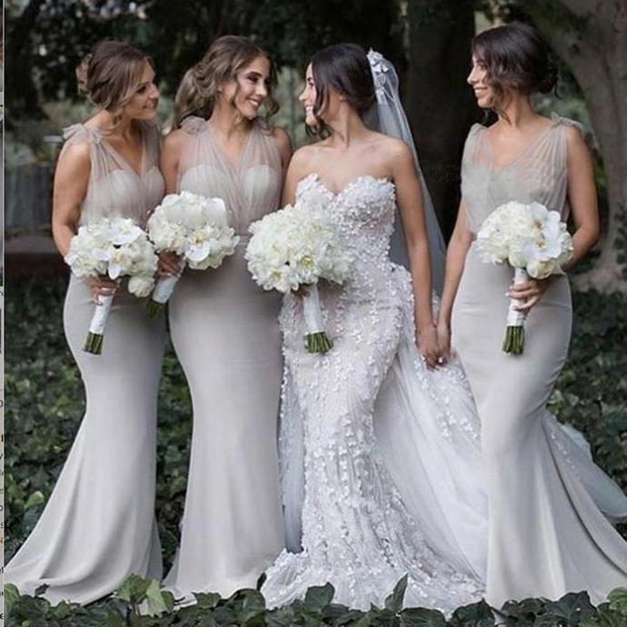 Mermaid V-Neck Backless Sweep Train Grey Bridesmaid Dress,Bridesmaid Gown