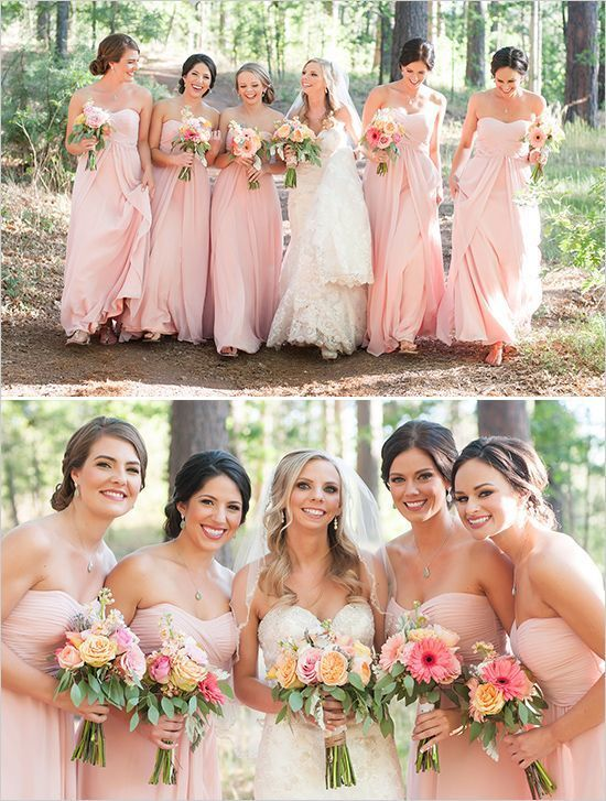 Pink Sweetheart Cheap Bridesmaid Dresses, Elegant Chiffon Bridesmaid Dresses