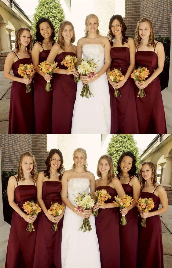 Sheath Spaghetti Straps Long Burgundy Satin Bridesmaid Dress